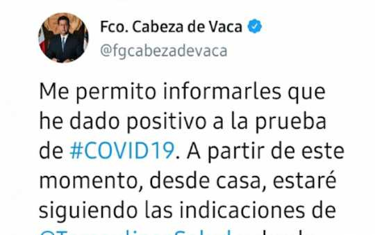 Gobernador CDV anuncia que dio positivo a COVID